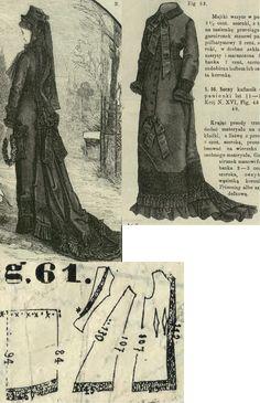 Tygodnik Mód 1877.: Mourning ensemble in princess form.