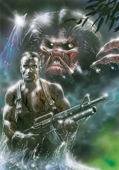Dutch & #Predator artwork by Oliver Frey that was a centrefold poster from Zzap!64 http://oliverfreyart.com/