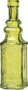 Amazon.com: Small Chartreuse Green Vintage Glass Bottle (square design): Home & Kitchen