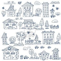 Illustration of doodle set of house tree vector art, clipart and stock vectors. Doodle Drawings, Doodle Art, Easy Drawings, Doodle Coloring, Coloring Books, Coloring Pages, House Doodle, Sketch Note, Sketch Ink