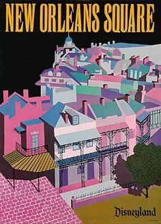Disneyland New Orleans Square vintage poster.