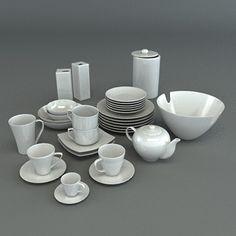 3D Model Set Porcelain Tableware - 3D Model