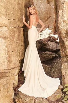 Hip-Hugging Crêpe Wedding Dress - Style #2328 | Mikaella Bridal Crepe Wedding Dress, Bridal Wedding Dresses, Wedding Dress Styles, Mikaella Bridal, Designer Bridesmaid Dresses, Fit And Flare Skirt, Bridal Boutique, Gorgeous Dress, Beautiful