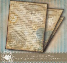Printable Lined Stationery Steampunk Stationery Paper