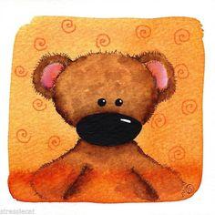 Original watercolor painting whimsical animal portrait Teddy bear orange