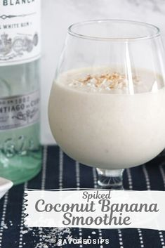 This Spiked Coconut Banana Smoothie is a cocktail in disguise. It's thick and creamy, full of banana flavor, and best of all, it's spiked with rum. | Smoothie Recipe | Rum Recipe | Frozen Cocktail Recipe | #recipe #cocktail #rum Rum Cocktail Recipes, Rum Recipes, Healthy Crockpot Recipes, Summer Recipes, Vegetarian Recipes, Veggie Smoothie Recipes, Parfait Recipes, Smoothie Drinks, Smoothies