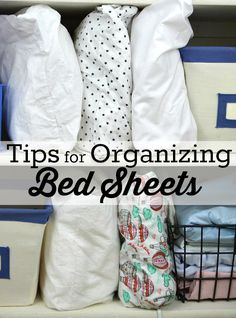 It's time to do a quick straightening of the linen closet and these 4 easy tips, for organizing bed sheets, make the task simple & easy to complete.