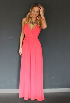 Women fashion clothing style maxi evening dress coral pink necklace earrings bracelet summer watch