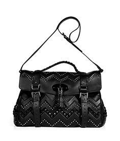 "Ladylike looks get a striking twist with Mulberry's Aztec-inspired zigzag studded oversized ""Alexa"" satchel #Stylebop"