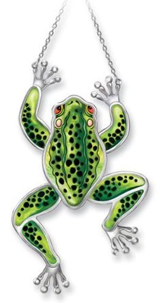 """Amia 7700 Green and Black Frog Suncatcher, Hand-painted Glass, 12-Inch L by 6-1/2-Inch W in Vertical Look, 10-Inch L by 9-Inch W in Horizontal Look by Amia. $29.00. 12-inch l by 6 1/2-inch w in vertical look, 10-inch l by 9-inch w in horizontal look. Hand-painted glass. Chain included. Amia Green and black frog made with multiple pieces of hand-painted glass inserted in handcrafted metal frames.  This acrobatic frog is able to """"jump"""" vertically or horizontally, si..."""