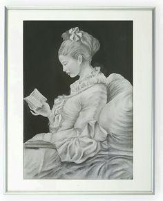 """Reprodução,  grafite sobre papel, da obra: """"A leitora"""" de Jean - Honoré Fragonard, por: Marília Vidigal Carneiro."""