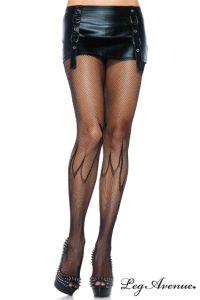 Collant Résille Flamme. Collant sexy en micro et moyenne résille avec motif flamme sur le bas des jambes. Lignes coutures à l'arrière...