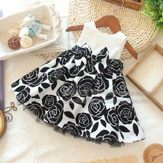 Item specifics Gender: Girls Department Name: Children Dresses Length: Knee-Length Silhouette: A-Line Sleeve Length: Sleeveless Decoration: Pattern Pattern Type: Floral Style: Casual Material: Polyest
