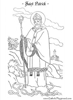 Saint Patrick coloring page: March 17th | Catholic Playground