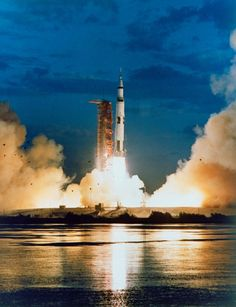 November 9, 1967. Apollo 4 launches on first test flight of the Saturn V rocket. The Saturn V was used to launch astronauts on later Apollo missions to the Moon. | Photo credit: NASA