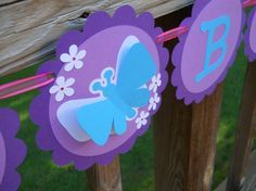 Butterfly Birthday Banner Purple and Teal Happy Birthday Party Banner - Free Shipping