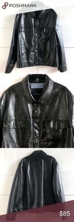 Men's Andrew Marc NY High Shine Leather Jacket Men's Andrew Marc NY High Shine Leather Jacket.  Size XL.  100% leather exterior with acetate, rayon & polyester lining. Pre-loved, showing some minor signs of wear on leather (on cuffs primarily).  Lining is intact and unstained.  You could say that it's perfectly/fashionably distressed!  Sexy masculine jacket at a fab price. Andrew Marc Jackets & Coats