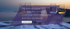 Are you a SPG Member? If you are, Starwood has come out with a new way to get you even more benefits! Introducing SPG Restaurants & Bars - Receive exclusive SPG Member discounts at more than 500 restaurants and bars worldwide! For more information visit www.spg.com/restaurantsandbars