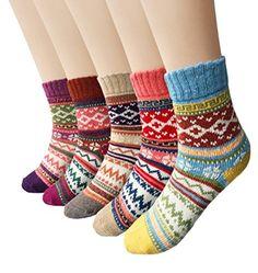 Amazon.com: Loritta Women's 5 Pairs Vintage Style Winter Knitting Warm Wool Crew Socks: Sports & Outdoors