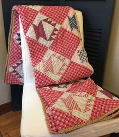 """Like the red plaid alternate block. Vintage Hand Stitched Quilt Cake Stand Design, 62 1/2"""" x 74"""", FlyingFigs, Etsy"""