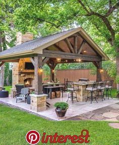 The patio of a house can be settings for many unique things. Whether you have a tiny space or a larger one, you want your outdoor space to be comfortable and nice. Your patio supplies the foundation for your outdoor living space. Backyard Kitchen, Outdoor Kitchen Design, Outdoor Kitchen Plans, Summer Kitchen, Backyard Patio Designs, Backyard Landscaping, Landscaping Ideas, Backyard Gazebo, Backyard Porch Ideas