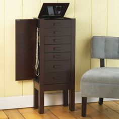 I like this  Darkish Mahogany Chase Jewellery Armoire with Charging Station