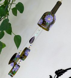 Wine bottle windchime, Amber wind chime, Purple flowers, yard art, patio decor, recycled bottle wind chime, hand painted chime by LindasYardArt on Etsy