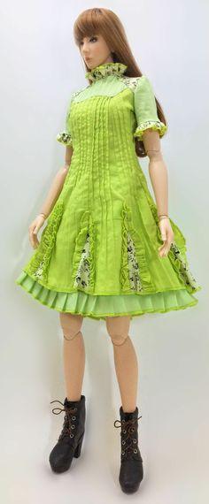 Milk Flower Dress ''Green Sprouts'' OS-210 via OUGI SAIGON. Click on the image to see more!