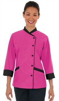 Women's Contrast Trim 3/4 Sleeve Chef Coat - Snap Front Closure - 100% Cotton Fine Line Twill Style # 54318 #chefuniforms #womensclothing #womenschefwear #chef #pink #black #women #fashion #style
