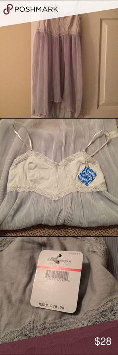 Free People pleated slip NWT!! Free People Mist Gray Herringbone Mesh Slip. Nice pleated skirt and lace around the bust. Free People Intimates & Sleepwear Chemises & Slips
