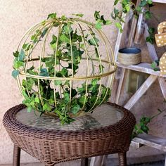 Easy home decor project made from repurposed hanging garden baskets.