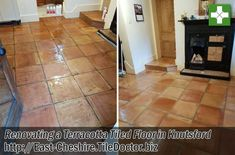 We were asked if we could restore the appearance of a large Terracotta tiled floor in a kitchen/dinner that had not been cleaned for many years. The sealer had mostly worn off in the high traffic areas but was still fairly thick under the table.  Terracotta tiles are made from soft clay making it very porous and likely to absorb anything that lands on it; as a result, it's important to maintain the sealer to stop this happening.