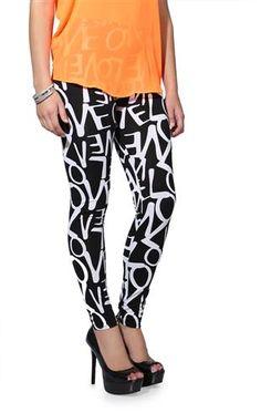 black and white love print leggings