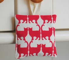 Megan Alice England Hanging Lavender Cushion - Red Cats