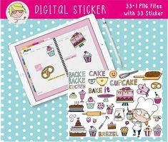 Digital Sticker digitales Aufkleber-Set Backen   Etsy Cover Design, Poster, Stickers, Etsy, Drawing Hands, Binder, Decals, Cards, Tips