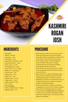 Kashmiri Rogan Josh, a traditional and aromatic mutton curry cooked with a blend of saffron and other aromatic spices giving you an unforgettable taste. Afghan Food Recipes, Lamb Recipes, Veg Recipes, Curry Recipes, Indian Food Recipes, Vegetarian Recipes, Cooking Recipes, Kashmiri Recipes, Gourmet