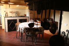 Tuscan kitchen with old firelplace