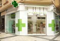 Now this says pharmacy. Shop Front Design, Store Design, Black And Red Kitchen, Pharmacy Store, Drug Store, Clinic Design, Healthcare Design, Design Exterior, Counter Design