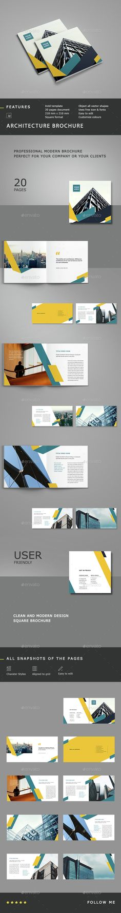 Buy Architecture Square Brochure by silukEight on GraphicRiver. Architecture Square Brochure Template is clean, modern and professional. Catalogue Design Templates, Booklet Design, Catalog Design, Print Templates, Brochure Inspiration, Graphic Design Inspiration, Print Layout, Layout Design, Leaflet Layout
