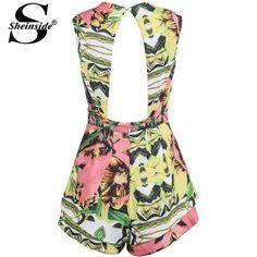 jumpsuit140521001 (3) Silk Jumpsuit, Backless Jumpsuit, Designer Jumpsuits, Vintage Prints, Rompers, One Piece, V Neck, Turquoise, Womens Fashion