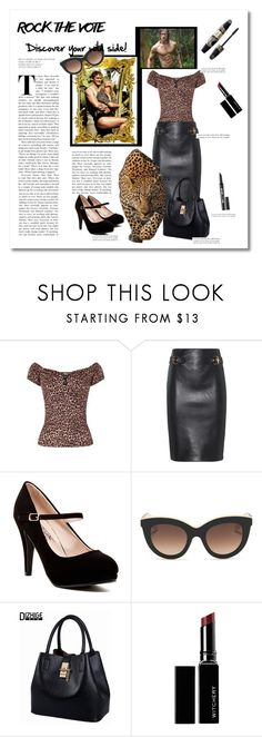 """Rock the vote: Wild side"" by eva-van-aardbei ❤ liked on Polyvore featuring Collectif, Moschino, Victoria Beckham, Witchery, Max Factor, rockthevote and polivoreeditorial"