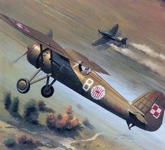 Pzl P.11 con un Stuka.:
