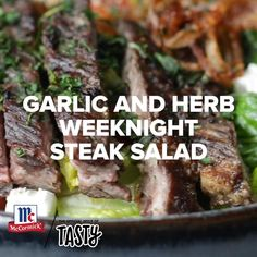 Upgrade your weeknights with this delicious garlic and herb steak salad. This is a great way to do date night at home. Learn how to fry your own crispy shallots and cook your steak to perfection with McCormick! Beef Recipes, Salad Recipes, Cooking Recipes, Healthy Recipes, Sleepover Food, Crispy Shallots, Steak Salad, Tasty, Yummy Food