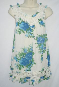 Cotton & Lace Blue Cream Floral Sleeveless Frill Top Medium by Apricot