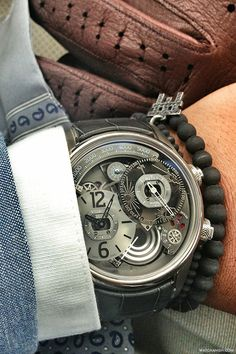 STYLE TIP: You can stack one or two slim bracelets with your timepiece. Breva Genie 01 x Anil Arjandas bracelets on the wrist. ---> FOLLOW US ON PINTEREST for Style Tips, Men's Basics, Men's Essentials on anything, OUR SALES etc... ~ VujuWear