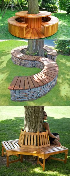 Tree Seat, Tree Bench, Shade Landscaping, Outdoor Landscaping, Landscaping Around Trees, Backyard Projects, Outdoor Projects, Outdoor Trees, Outdoor Decor