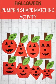 Pumpkin shape matching activity for preschoolers and kindergartners. Kids will work with circle, square, triangle, hexagon, oval, rectangle, star and rhombus. #halloweenshapeactivity #shapematchinggame #shapematchingactivity #halloweenshapematchinggame Halloween Arts And Crafts, Halloween Math, Halloween Activities For Toddlers, Craft Activities, Easy Crafts For Kids, Art For Kids, Googly Eye Crafts, Teaching Shapes, Non Toy Gifts