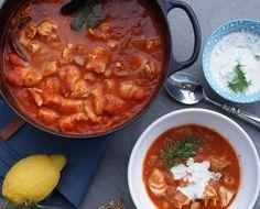 Tomatisert fiskegryte med dillkrem – Berit Nordstrand Curry, Ethnic Recipes, God, Happy, Dios, Curries, Praise God, The Lord