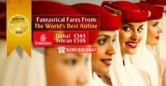 Fantastical Fares From The World's Best  Airline ✈ 2016   |    Airline ✈ of the Year  Skytrax 2016  |    Destinations & Fares ➡  |   Dubai Fr  £345 | Tehran Fr  £398  |    Airline :- ✈ Emirates ✈  |     Offer Ends : 31st Jul 2016  |     Call us: 0203 811 2447  |    Visit for more details: http://www.arabianexperts.co.uk/  |    #arabianexperts ✈ #travel  #flights ✈ #bestflightoffers  #bookcheapflights #cheapflights ✈ #travelagents #travelagentsinuk