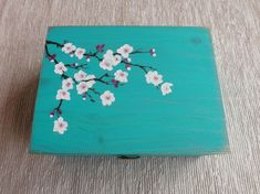Wood Tea box with Cherry Blossom, handpainted custom wooden storage box for Tea lovers, Gray floral wooden chest Tea bag organizer Painted Trunk, Painted Wooden Boxes, Wooden Storage Boxes, Wood Boxes, Hand Painted, Wooden Memory Box, Wooden Tea Box, Wooden Chest, Wooden Box Crafts